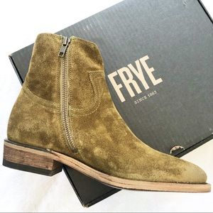 Frye Billy Inside Zip Suede Ankle Boots Size 8